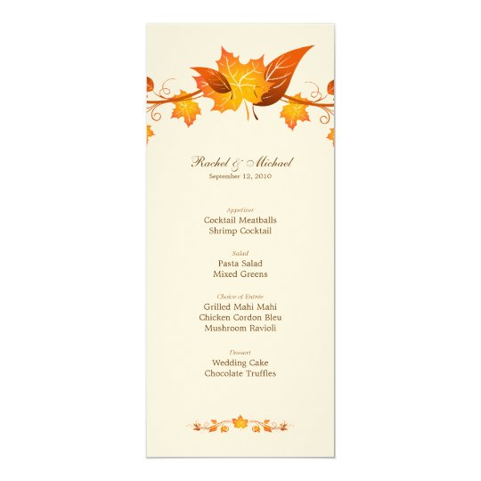 Autumn Foliage Wedding Menu Card