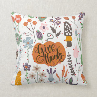 Autumn & Foliage With Giving Thanks-Typography Cushion