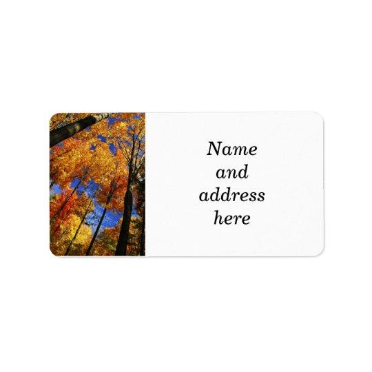 Autumn forest address label