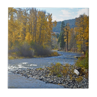 Autumn forest and river scene small square tile