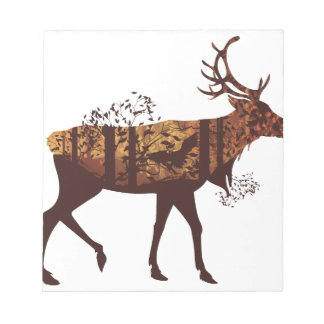 Autumn Forest Landscape and Deer 2 Notepad