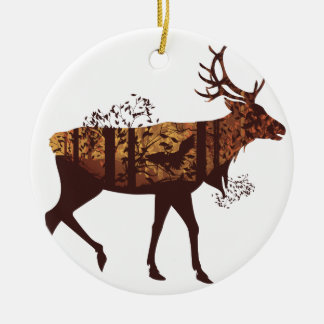 Autumn Forest Landscape and Deer 2 Round Ceramic Decoration