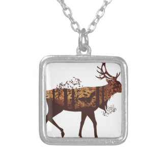 Autumn Forest Landscape and Deer 2 Silver Plated Necklace
