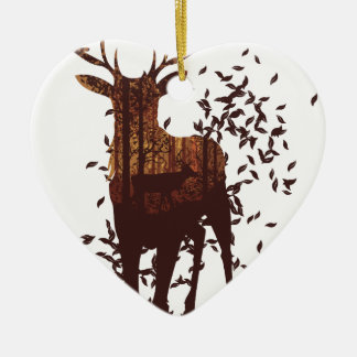 Autumn Forest Landscape and Deer Ceramic Heart Decoration