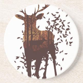 Autumn Forest Landscape and Deer Coaster
