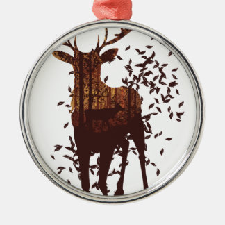 Autumn Forest Landscape and Deer Silver-Colored Round Decoration