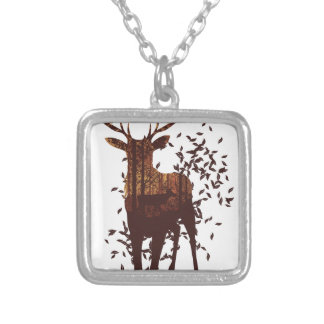 Autumn Forest Landscape and Deer Silver Plated Necklace