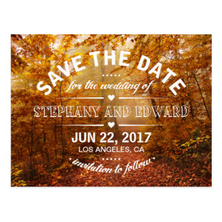 Autumn Forest Save the Date Postcard