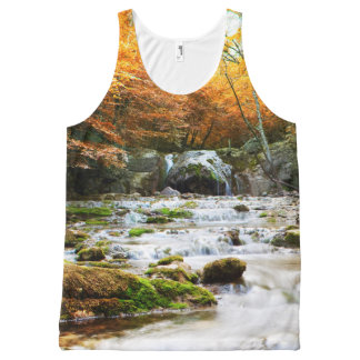 Autumn Forest Waterfall All-Over Print Tank Top