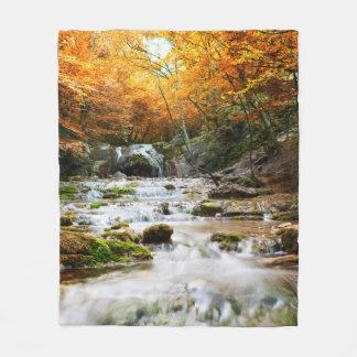 Autumn Forest Waterfall Fleece Blanket