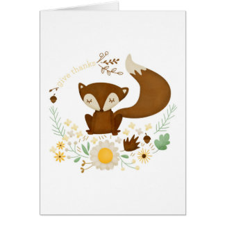 Autumn Fox Give Thanks Greeting Card