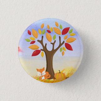 Autumn Fox with Pumpkin 3 Cm Round Badge