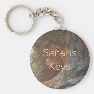 Autumn Fractal Swirl Basic Round Button Key Ring