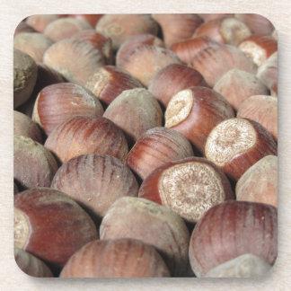 Autumn fruit Closeup of hazelnuts Food background Coaster