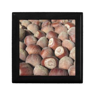 Autumn fruit Closeup of hazelnuts Food background Gift Box