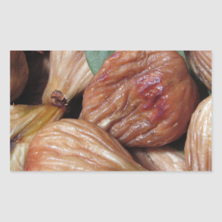 Autumn fruits . Closeup of dried figs with leaves Rectangular Sticker