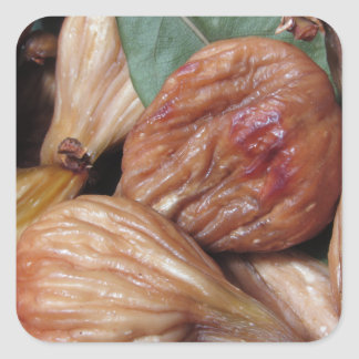 Autumn fruits . Closeup of dried figs with leaves Square Sticker