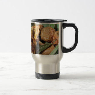 Autumn fruits . Closeup of dried figs with leaves Travel Mug