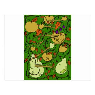 Autumn fruits postcard