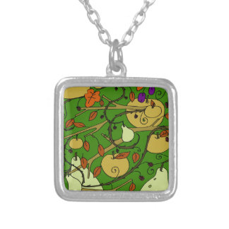 Autumn fruits silver plated necklace