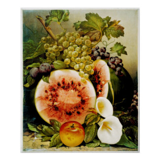 Autumn Fruits Watermelon Grapes Peaches Poster
