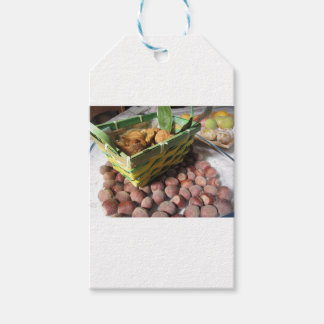 Autumn fruits with hazelnuts and dried figs gift tags