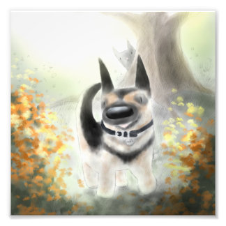 "Autumn German Shepherd Pup (and Cat) 8"" x 8"" Print"
