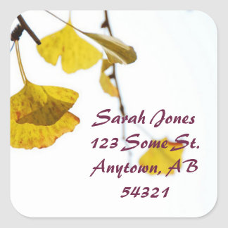 Autumn Gingko Leaves Yellow Branch Address Label