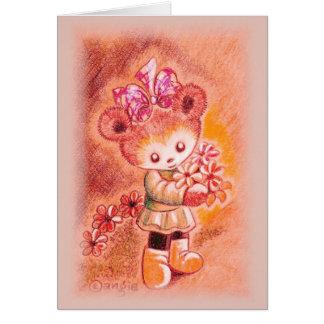 Autumn Girl Teddy Bear Greeting Card