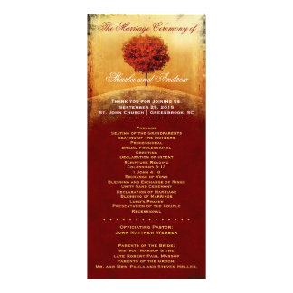 Autumn Glory Red Tree Wedding Program Rack Card