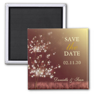 Autumn Gold Brown Dandelion Wedding Save the Date 2 Inch Square Magnet