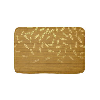 Autumn Gold Leaves Pattern Bath Mats