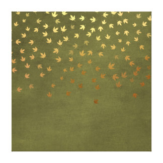 Autumn Gold Leaves Pattern Canvas Print