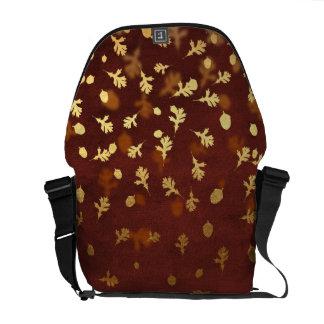 Autumn Gold Leaves Pattern Messenger Bag
