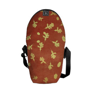 Autumn Gold Leaves Pattern Messenger Bags