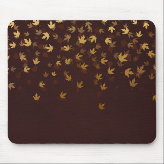 Autumn Gold Leaves Pattern Mouse Pad