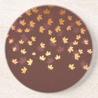 Autumn Gold Leaves Pattern Sandstone Coaster