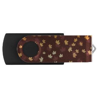 Autumn Gold Leaves Pattern Swivel USB 3.0 Flash Drive