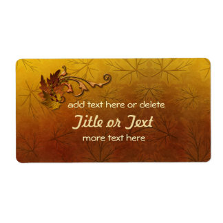 Autumn Gold Leaves Wedding Shipping Label