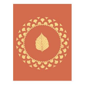 Autumn gold paper postcard
