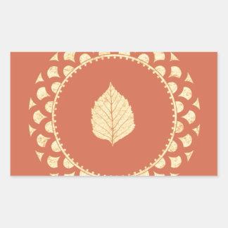 Autumn gold paper rectangular sticker
