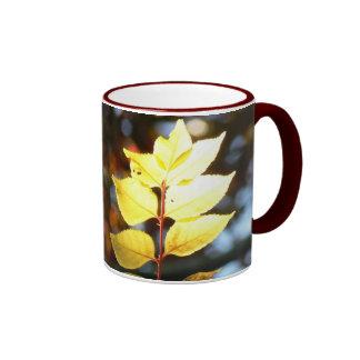 Autumn golden ash leaf mug