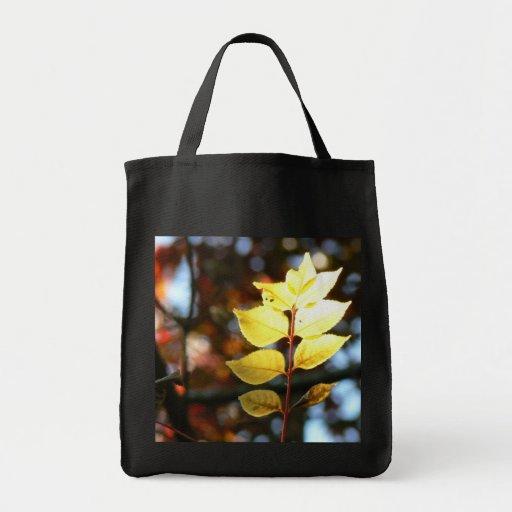 Autumn golden ash leaf shopping tote bag