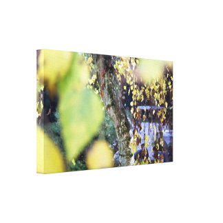 Autumn Golden Branches + Leaves Stretched Canvas Print