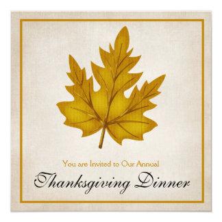 "Autumn Golden Leaf Thanksgiving Dinner Invitation 5.25"" Square Invitation Card"