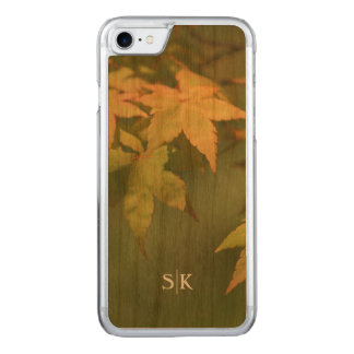 Autumn Golden Maple Leaf Monogram Handmade Carved iPhone 7 Case