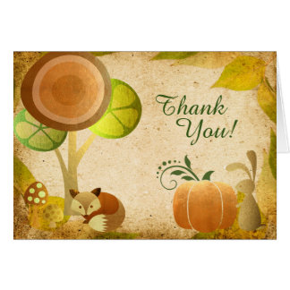 Autumn Golden Woodland Fox n Bunny Fall Thank You Card