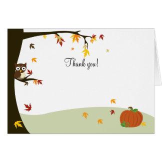 Autumn Halloween Owl Thank you Note Card