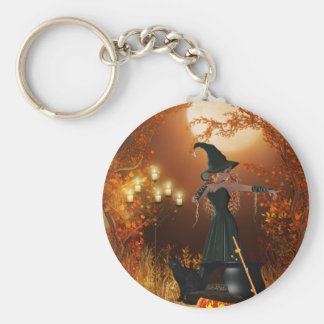 Autumn Halloween Witch Basic Round Button Key Ring