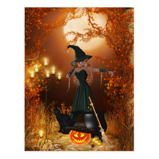 Autumn Halloween Witch Postcard